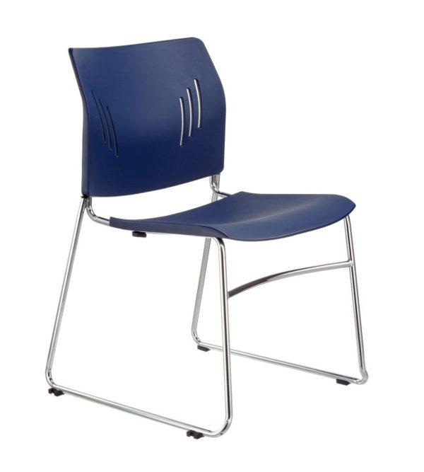 敦煌傢具-ACE-05C口型腳訪客椅-深藍色