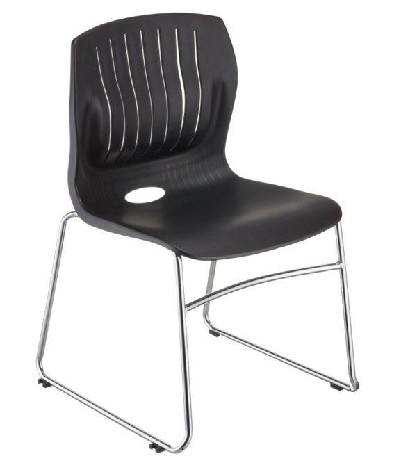 敦煌傢具-TEC05C口型腳訪客椅-黑色